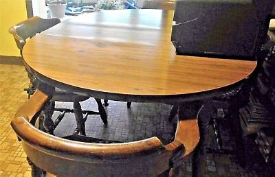 Early American Style Dining Set,1970's Table & 4 chairs, dark wood, laminate top