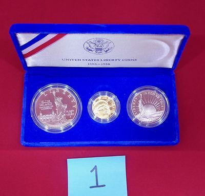 1986 liberty gold 3 coin proof set w/ gold $5 Liberty coin