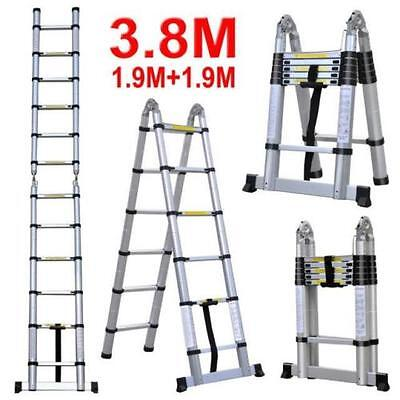 3.8M Telescopic Aluminium Ladder Extension Alloy Double Extendable Step pickup