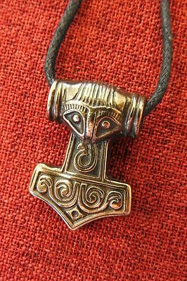 Thor's Hammer Norse Thor Viking Mjöllnir Brass Plated Pewter Pendant Necklace
