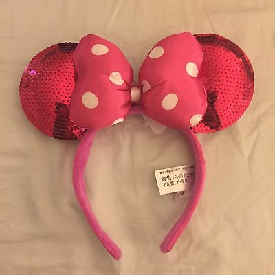 Disney Parks Authentic  Pink Sequin Minnie Mouse Mickey Ears Headband Bow