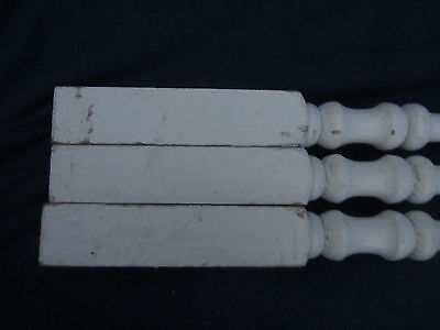 "Set of 3 Vintage White Wood Stair Balusters  Spindles 37""  LOT24"
