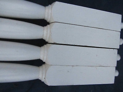 "Set of 3 Vintage White Wood Stair Balusters  Spindles 35""  LOT26"