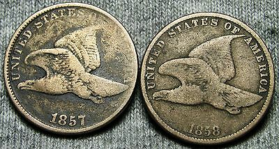 1857 & 1858 Flying Eagle Cents Lot Type Penny  -- Nice Lot -- #D054