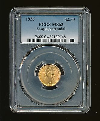 1926-P Sesquicentennial $2.50 Gold Commemorative PCGS MS 63 RARE LOW MINTAGE