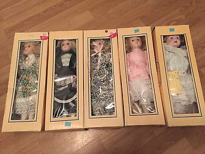5 Porcelain Dolls In Box