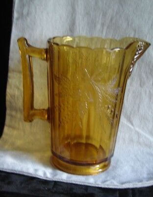Victorian 1870-91 Bryce Bros US Glass Amber EAPG Pitcher Wheat & Barley Pattern