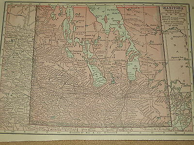 1915 Original MAP ONTARIO /  MANITOBA Canada  101 Years Old