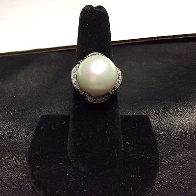 Signed M&N Large Faux White Pearl & CZ Baguettes Sterling Silver Ring  Sz 7 1/4""