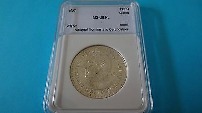 1957 Mexico Peso Constitution Ms-66 Pl Silver Coin Mint Uncirculated Wow!