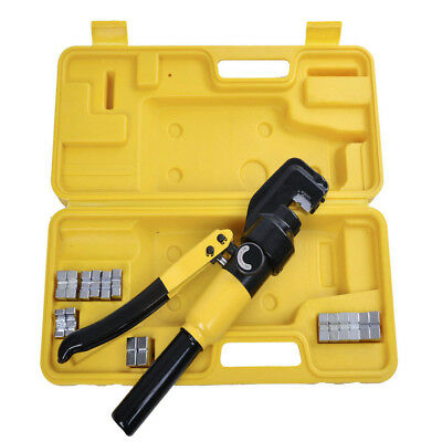 8/10 Ton Hydraulic Wire Crimper 9 Dies Lug Cable Force Crimping Tool Kit 4-70mm