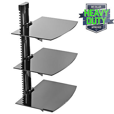 3 Shelf Floating Wall Mount DVD TV Component AV Console Cable Glass Stand