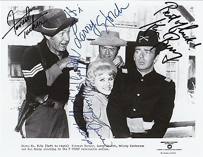 F Troop Cast Signed 8X10 B&w Photo Tucker, Storch, Patterson And Berry