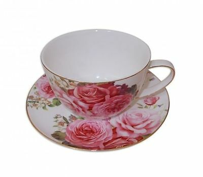 Fine Bone China Pink Rose Breakkie Cup and Saucer Set