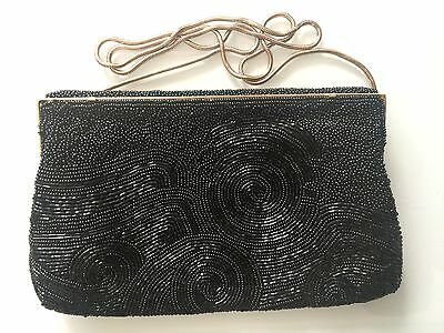 1950s Black Beaded Purse Gold Colored Chain
