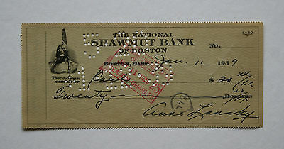 Anne Lansky Wife Of Meyer Lansky Mafia's Accountant Signed Bank Cheque 1939 Mint