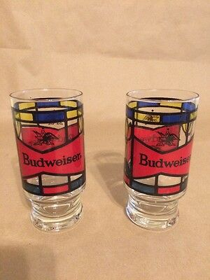 Budweiser Set Of 2 Stained Glass Design Tumblers Anheuser Busch