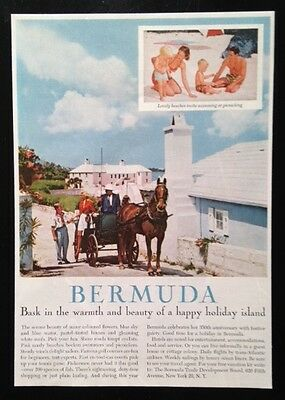 1959 Bermuda vacation horse carriage family travel Island 50's vintage print ad