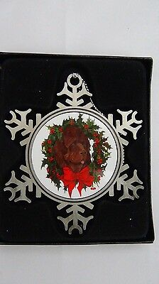 newfoundland dog collectable pewter snowflake hanging ornament