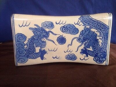 Antique Porcelain Chinese Vented Opium Pillow.