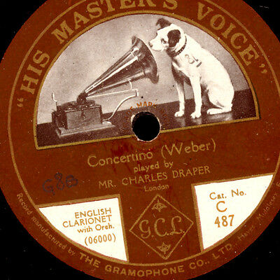 CHARLES DRAPER - ENGLISH CLARIONET- & ORCH. Weber: Concertino / FLUTE  78' G2903