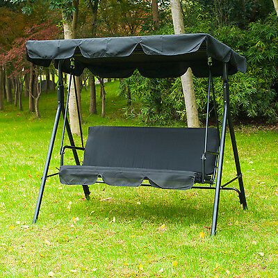 Outsunny Swing Chair Patio Hammock Garden 3 Seater Outdoor Cushioned Adjustable