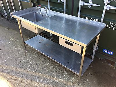 Commercial Catering/ Workshop Stainless Steel Table & Sink, With Shelf & Draw