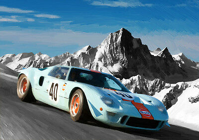 Automotive Art - Ford Gt40  - Hand Finished, Limited Edition (25)