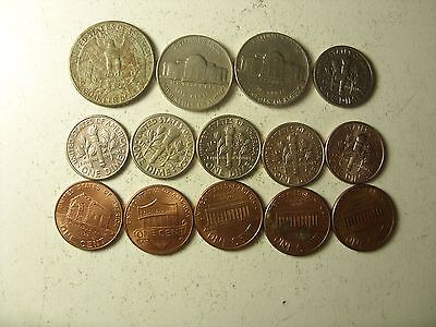 Lot Of 14 American Coins 1-25 Cents 1947-2013 Interesting !!!!!!!