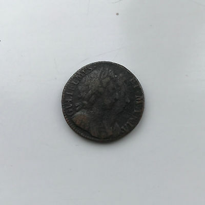 COPPER FARTHING 1694 COIN WILLIAM AND MARY FINE GRADE (UNBARRED As)