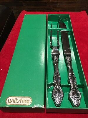 Vintage Wiltshire Carving Set Silver Plated Silverplate Never Used In Box
