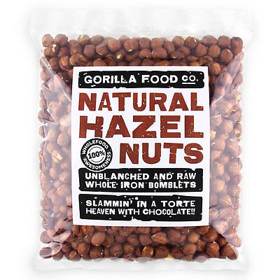 Gorilla Food Co. Natural Hazelnuts Whole Raw - 200g-1.6kg (Great value £ per 1kg