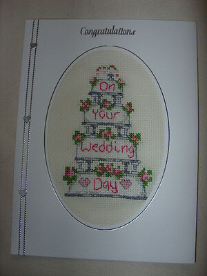 """Completed Cross Stitch Wedding Card 8""""x6"""""""