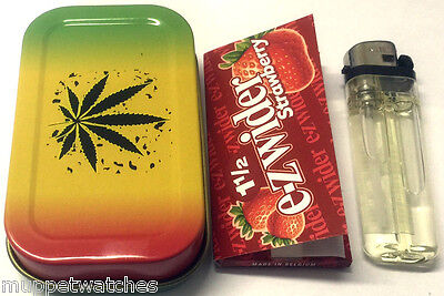COLOURFUL LEAF WEED DESIGN HINGED Tobacco Stash Tin with GAS LIGHTER & Paper