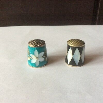 2 x  Mother of Pearl and Abalone Shell Thimbles
