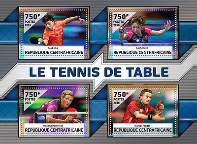 Central African Rep 2016 MNH Table Tennis Ma Long Liu Shiwen 4v MS Sports Stamps