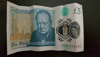 AA22 BRAND NEW POLYMER £5 Five Pounds Note