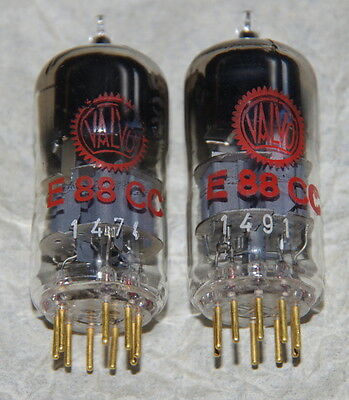 2x E88CC Valvo / Philips - pinched waist - used but tested very good - D-Getter