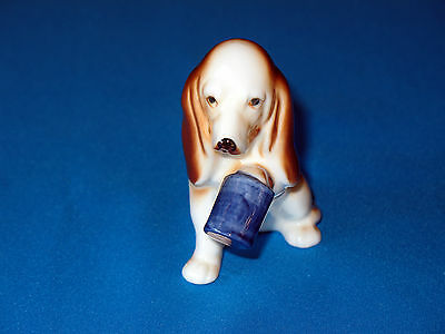 Vintage? Porcelain  Bloodhound Dog Figurine With Paw Stuck In Can/Jar