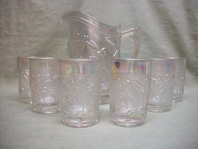 Vintage Imperial Signed White Carnival Glass Bird Pitcher & 6 Tumblers
