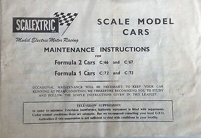 SCALEXTRIC Instructions for Maitenance of F1 & F2 Cars c/66, c/67 & c/72, c/73