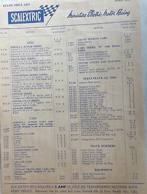 SCALEXTRIC Price List for April 1963