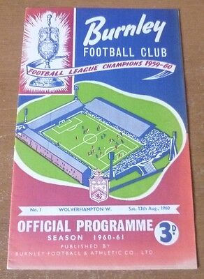 1960 - Burnley v Wolves, Charity Shield Match Programme.