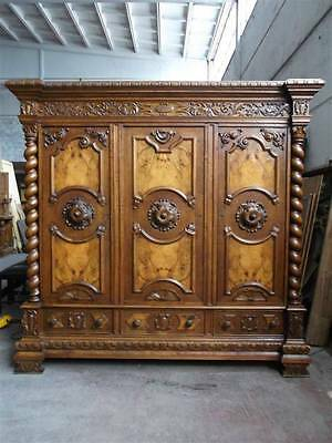 Beautiful Italian Tuscan Burled Walnut Bedroom Set Armoire - 14It015A