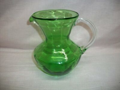 Vintage Green Blown Glass Applied Handled Pitcher