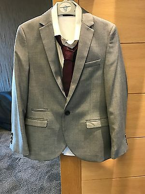 Boys Next Grey Suit Trousers Age 10, Jacket Age 9, Waistcoat Shirt And Tie Age