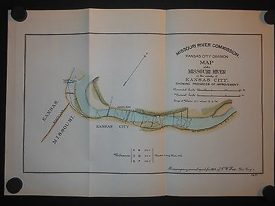 Kansas City Harlem Missouri River 1893 Map Hand Colored Railroads