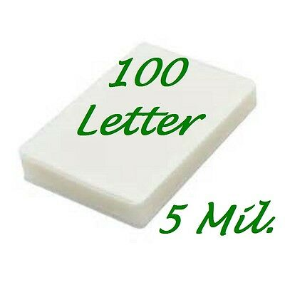 100 PK Letter Size Laminating  Pouches Sheets  9 x 11-1/2 5 Mil Free Carrier