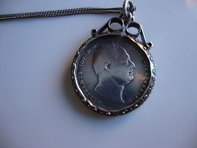 Antique Solid Silver 1834 William Iv Sixpence Coin Mount Pendant & 925 Chain