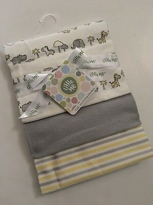 Little Me Baby Boy 3 Pack Swaddle Receiving Blankets Gray Yellow Safari  Layette